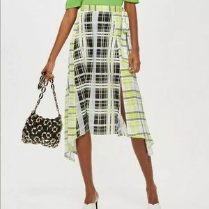 TOPSHOP Midi Plaid Asymmetrical Skirt neon 8 NWT